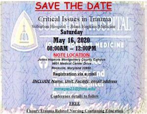 Critical Issues in Trauma @ Suburban Hospital - Johns Hopkins Medicine
